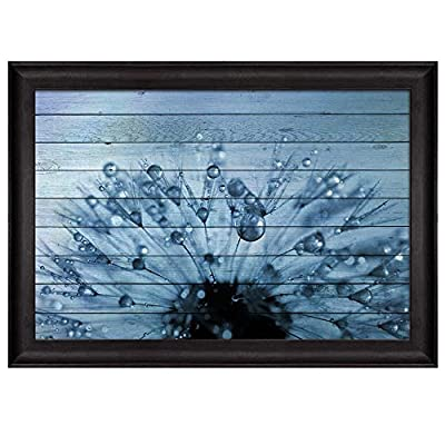 Dandelion Covered in Rain Drops Over Blue Wood Panels Nature Framed Art, Premium Creation, Amazing Piece of Art