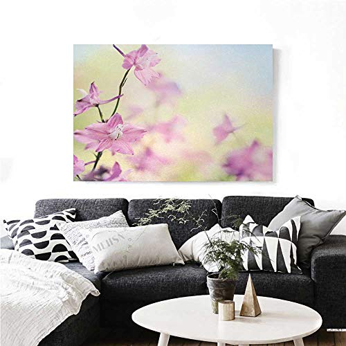 (homehot Floral Wall Paintings Larkspur Petals with Bokeh Backdrop Summer Season Botany Bouquet Image Print On Canvas for Wall Decor 24