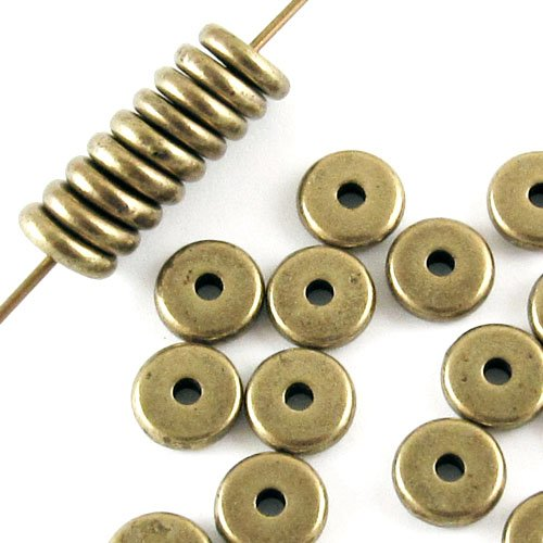 Brass Oxide Disk Spacer Beads TierraCast Lead Free Pewter 6mm (25 Pieces) ()
