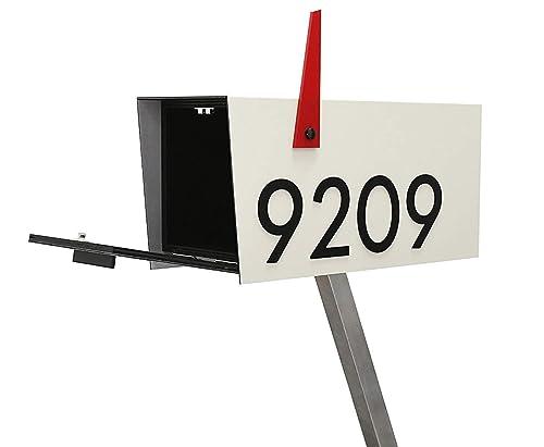 Amazon Com Modern Post Mount Mailbox Aluminum Ivory White Body Door And Acrylic Black Numbers Custom Modern Mailbox Type 4 Handmade