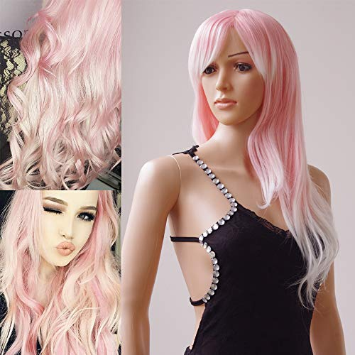 S-noilite Women Wigs 28 Inch Long Wavy Synthetic Ombre Full Wig with Wig Cap for Daily Party Cosplay Date - Pink-White -