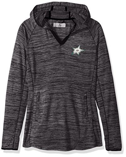 NHL Dallas Stars Women's Lexi Core Logo PWT Hooded Mid-Layer Pullover, Small, Heather Charcoal