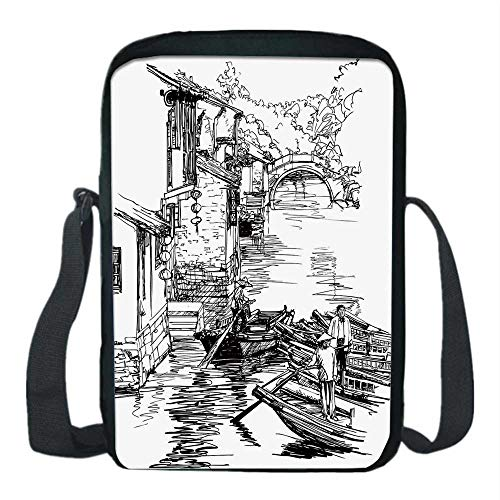 Ancient China Decorations Print Kids Crossbody Messenger Bag,Sketch of Shanghai Water Village Boats on River Houses Bridge for Boys,9''H x 6''L x 2''W