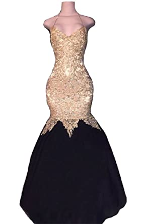 2018 Womens Sexy Gold Lace Beaded Prom Dresses Long Mermaid Evening Gowns