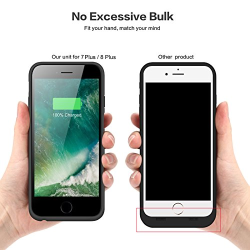 iPhone 8 Plus 7 Plus Battery Case, iPosible 8500mAh Rechargeable Battery Pack Charging Case for iPhone 7 Plus/8Plus (5.5 inch) Extended Battery Power Bank Portable Charger Case Ultra Slim-Black by iPosible (Image #4)