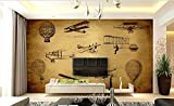 LHDLily 3D Industrial Aircraft Retro Cafe Personality Restaurant Lounge Bar Background Wallpaper Mural 400cmX300cm