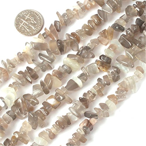 Joe Foreman 6-8mm Gray Natural Moonstone Gravel Gemstone Chips Beads For Jewelry Making Wholesale Beads Freeform Gray (Moonstone Chip)