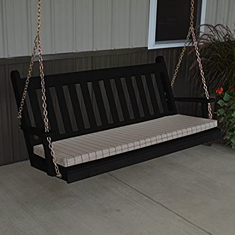 A L Furniture Yellow Pine Traditional English Porch Swing 6 Dark Green