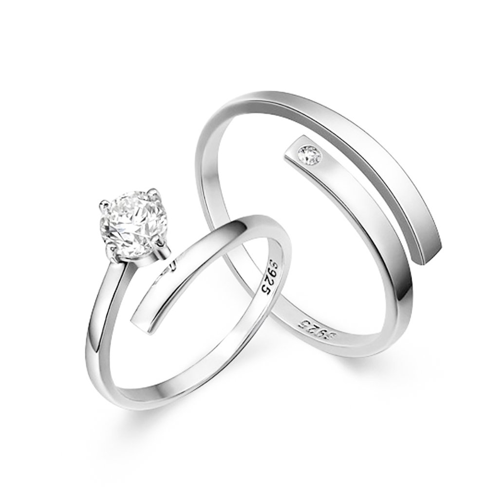 482223f5b6 TIDOO Jewelry S925 Sterling Silver Adjustable Couples Rings Mens Womens  Wedding Bands|Amazon.com