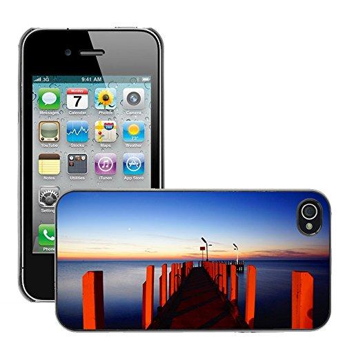 Stampato Modelli Hard plastica Custodie indietro Case Cover pelle protettiva Per // M00421710 Jetty Wooden Pier éclairage rouge // Apple iPhone 4 4S 4G