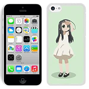 Popular And Unique Designed Cover Case For iPhone 5C With Girl Brunette Green Eyes Look white Phone Case