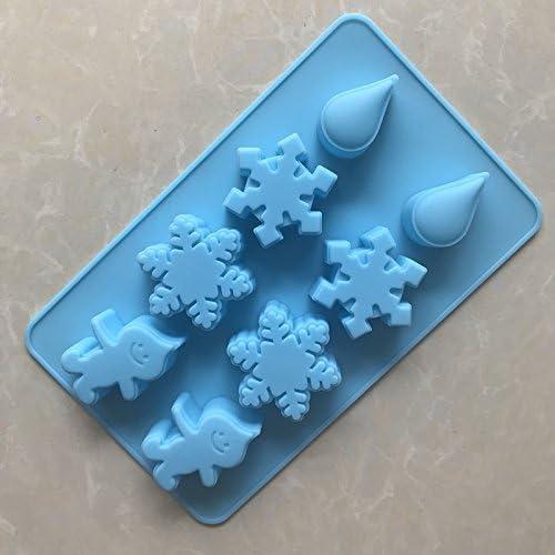 Qinlee Schneeflocke F/örmchen Eisw/ürfel DIY Weihnachten Eisform Silikon Giessform f/ür Pudding Fondant S/ü/ßigkeiten Schokolade Kuchenform