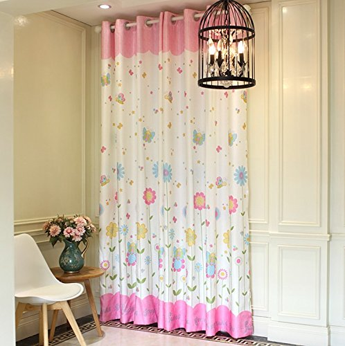LELVA Girls Bedroom Curtain Panel Kids Room Curtain Windows Drapes Baby Room Thermal Insulated Blackout Grommet Curtain 2 Piece (W37'' X L84'') by LELVA