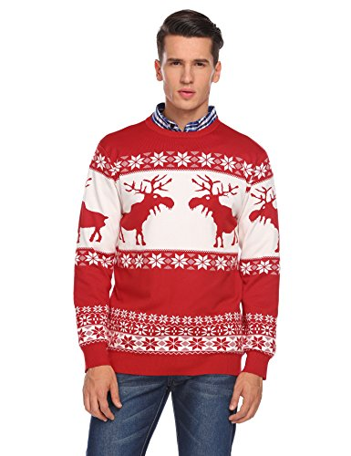 COOFANDY Men's Crewneck Long Sleeves Cable Knitwear Ugly Christmas Pullover Sweater hot sale