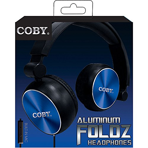 Coby CVH-804-NVY Aluminum Foldz Headphones with Built-In Mic, Navy