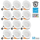 12 PACK Wet Location 4-inch Dimmable Recessed LED Downlight, 13W (85W Equivalent), High CRI 90+, ENERGY STAR, 2700K Soft White, 800lm, Retrofit LED Recessed Lighting Fixture, 5 YEAR WARRANTY