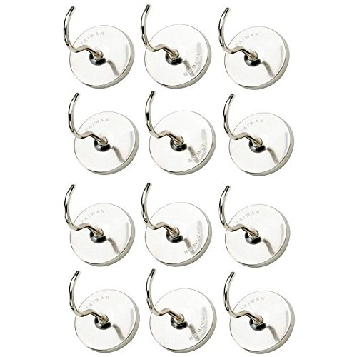 10 Piece Magnetic Hooks - 1 ½ Inch Heavy Duty Nickel Plated Hanging Hook for Household, Kitchen, Workshops, Garage, Tools, Clothing, Bags, Jackets, Decor, Wrenches, Mounting, Pans, Utensils -Katzco by Katzco