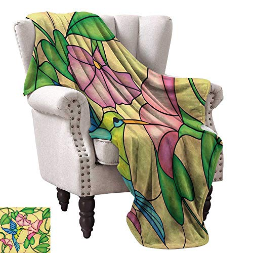 Super Soft Lightweight Blanket,Stained Glass Style Bird and Hibiscus Tropical Flora and Fauna Illustration 90