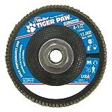 Weiler 51165 Tiger Paw XHD Super High Density Abrasive Flap Disc, Type 27 Flat Style, Phenolic Backing, Zirconia Alumina, 4-1/2'' Diameter, 5/8''-11 Arbor, 40 Grit, 12000 RPM (Pack of 10)
