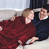 ACCLOVE Lazy Wearable Blanket Ultra Plush Blankets Hoodie Head TV Blanket- One Size Fit Adult Men Women for Winter Home As Seen on TV (Burgundy)