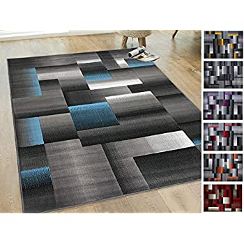 Amazon Com Handcraft Rugs Blue Silver Gray Abstract