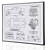 Dodge Challenger RT 5.7L Blueprint Artwork-Laser Marked & Personalized-The Perfect Dodge Gifts