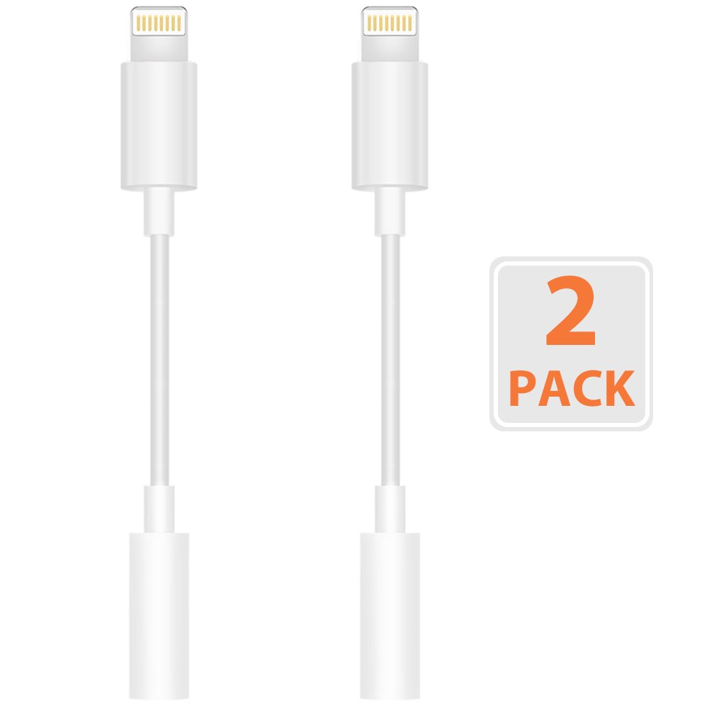 Headphone Adapter (2 Pack) to 3.5mm Earbuds Jack Adapter for iPhone 7/7 Plus/8/X and More (White) OPUDA 4326661631