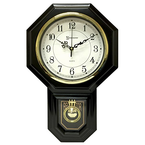 Timekeeper Essex Westminster Chime Faux Wood Pendulum Wall Clock  - Urban Mod, Black ( 17.5 Inch x 11.25 Inch )