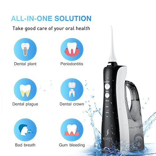 [UPGRADED] 330ML Cordless Water Flosser Teeth Cleaner, ELLESYE High Pulse Rechargeable Portable Oral Irrigator for Travel & Office Use, IPX7 Waterproof Dental Flosser for Shower with 2 Tips for Family by ELLESYE (Image #7)