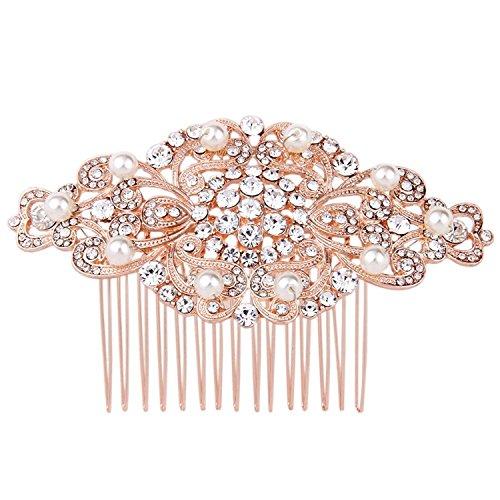 Fairy Moda Rose Gold Bridal Hair Comb Wedding Hair Accessories for Bride Art Deco by Fairy Moda