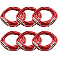 SEISMIC AUDIO - SATRX-10 - 6 Pack of Red 10 1/4 TRS to 1/4 TRS Patch Cables