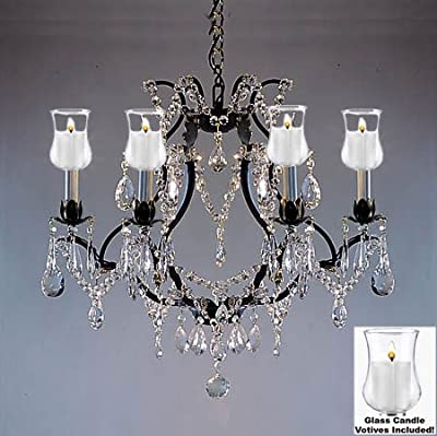 "Crystal Chandelier Lighting Chandeliers W/ Candle Votives H19"" W20"" - For Indoor / Outdoor Use! Great for Outdoor Events, Hang from Trees / Gazebo / Pergola / Porch / Patio / Tent !"