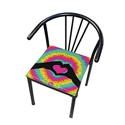"""Bardic HNTGHX Outdoor/Indoor Chair Cushion Tie Dye Love Heart Square Memory Foam Seat Pads Cushion for Patio Dining, 16"""" x 16"""": Home & Kitchen"""
