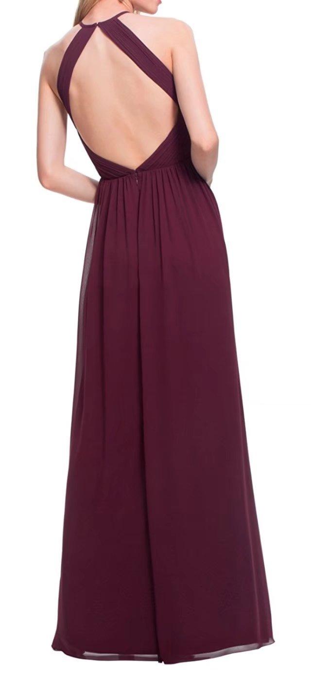 Elegante Halfter Prom Abendkleid lange einfache Chiffon Brautjungfer ...