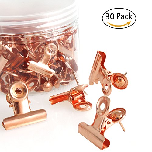 Rose Gold Metal Push Pin with Clip for Cork Boards - Bulletin Boards and Cubicle Walls Great Alternative (Little Bulletin Board Sets)