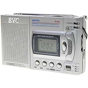 Radio BVC R938 mini radio digital multibanda con reloj y despertador