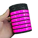 Arsmt Car Cigarette Ashtray Portable Auto Vehicle With Blue LED Light and Diamond Car Cup Holder (Pink)