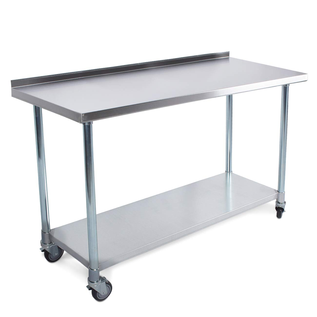 ARKSEN Universal Stainless Steel Storage NSF Undershelf Work Prep Table w/Backslash and Caster Wheels, 48 in x 24 in