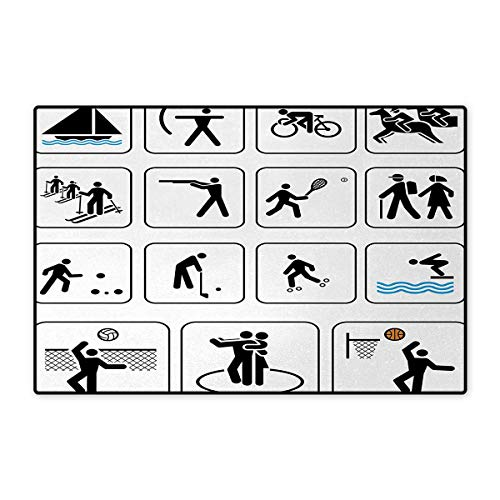 Olympics,Doormat,Sports Competition Games Signs Dancing Horse Riding Bowling Athletics Themed Art,Floor Mat Bath Mat for Tub,Black White 16