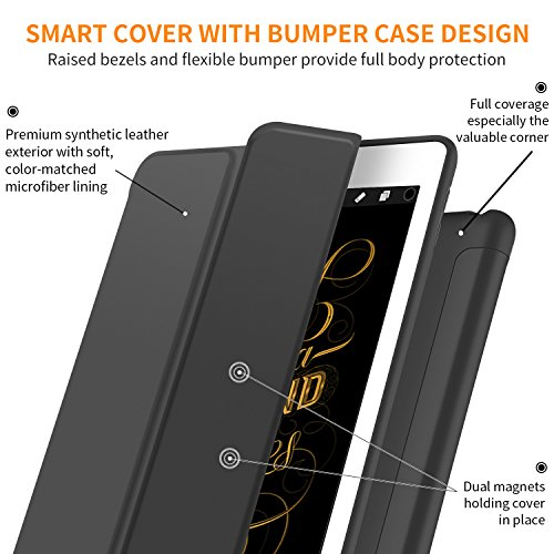 iPad Pro 10.5 Soft Back Case, DTTO Ultra Slim [Anti-Scratch] Lightweight Smart Case Trifold Cover Stand with Flexible Soft TPU Back Cover for iPad Pro 10.5 inch [Auto Sleep/Wake],Black by DTTO (Image #3)