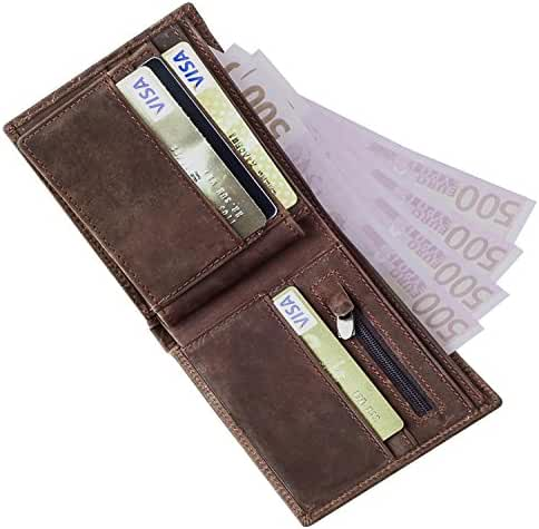 GSG Mens Vintage Crazy Horse Genuine Leather Wallet Woven Card Holder Purse Father's Day Gifts
