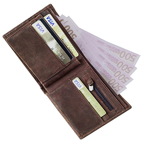 GSG Mens Crazy Horse Genuine Cow Leather Wallet Vintage Woven Card Purse Money Wallet Nice Gift Coffee