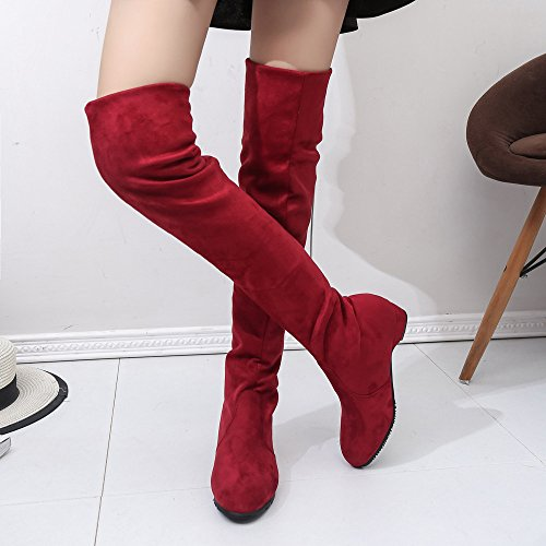 Stivali high Rosso Wedges Med Moda Stretchy Scarpe Womens Antiscivolo Sportive Outdoor Corsa Sneakers Boots Knitting Knee Donna Caldo Da Winter Shoes Invernale Rovinci ZOZArwBq