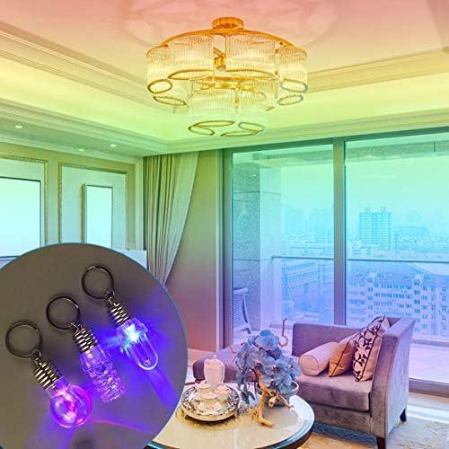 Tivollyff おかしいLED電球キーホルダーカラフルなフラッシュライトスパイラルキーチェーンカラフルなトーチキーリングかわいい発光クリアランプおもちゃ