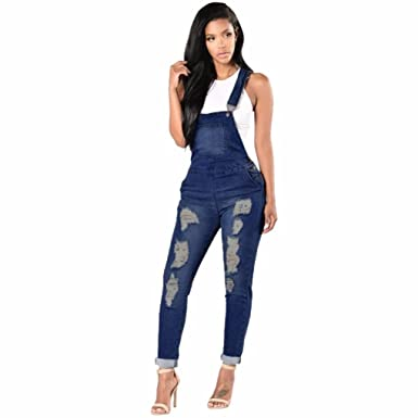92d0257ed98 Rambling Fashion New Womens Denim Ripped Hole Bib Overall Jumpsuit Casual Jeans  Pants