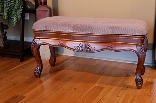 International Caravan 3880-IC Furniture Piece Carved Wood Vanity Bench