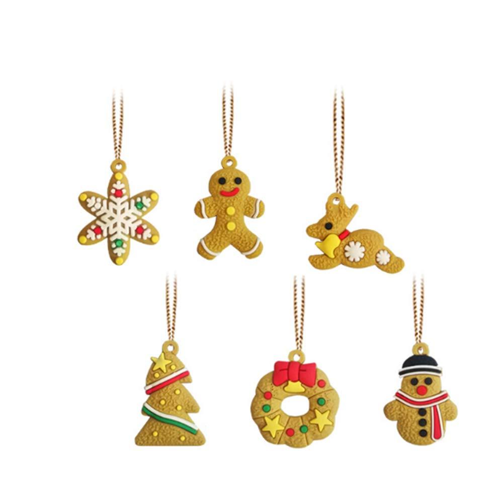 YuamMei 6pcs Albero di Natale Appeso Ornamento, Fai da Te polimero Argilla Pendenti Decorazioni per la casa, all'aperto, Festa e Festival all' aperto