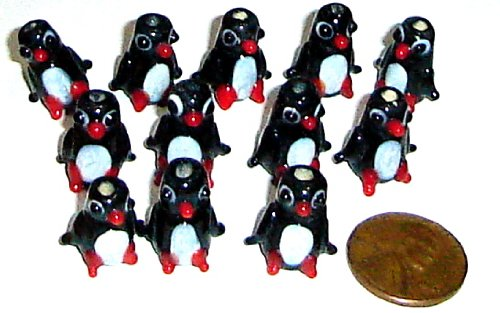 - Penguin Approx 10mmx12mm Lampwork Glass 12 Beads