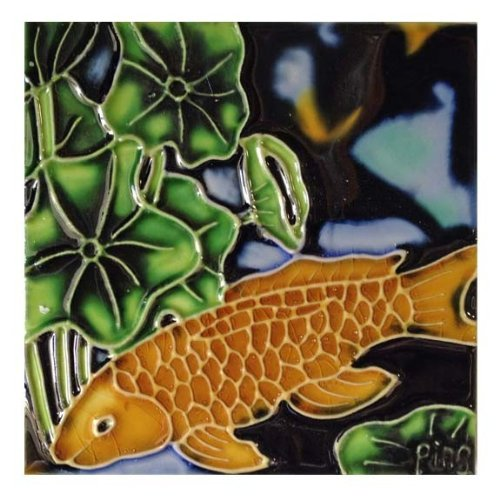 Continental Art Center SD-023 4 by 4-Inch Koi Fish Ceramic Art Tile