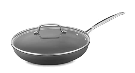 Cuisinart 622-30G Chef s Classic Nonstick Hard-Anodized 12-Inch Skillet with Glass Cover, Black